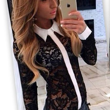 Lace Long Sleeve Button Collar Shirt