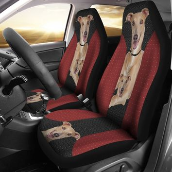 Italian Greyhound Red Black Print Car Seat Covers-Free Shipping