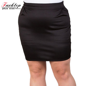plus size 5xl 6xl 2016 new summer fashion solid red black formal pencil above knee mini high waist women skirt bottom clothing