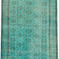 "6'2"" x 10'3"" Aqua Green Turkish Overdyed Rug"