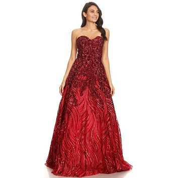 Red Strapless Sequins Prom Gown Corset Back