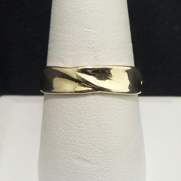 Vintage 14K Yellow Gold 5mm High Polished Wedding Band - Size 10