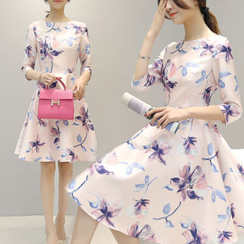 Women's Fashion Print Dress Three-quarter Sleeve Slim Skirt One Piece Dress [4918718148]