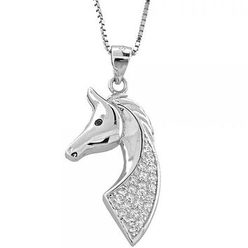 Sterling Silver 04.183.0013 Fancy Necklace, Horse and Box Design, with White Micro Pave and Black Crystal, Polished Finish, Rhodium Tone