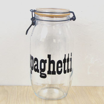 Vintage Spaghetti Storage Jar , Kitchen Canister , Glass Swing-Top Jar