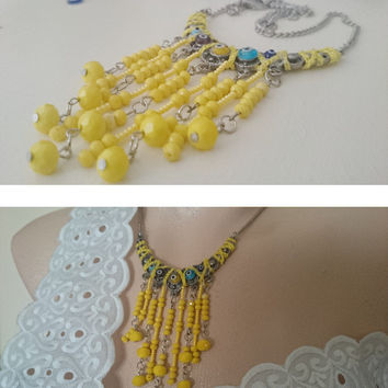 Modern Yellow Bead Necklace - Crystal and Seed Bead Fringe Necklace - Evil Eye Necklace - Fashion Statement Necklace - Unique Necklace - Her