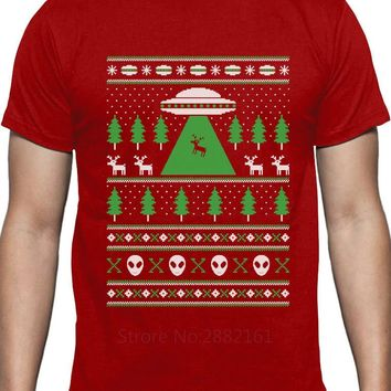 Reindeer Alien Abduction Ugly Christmas Sweater T-Shirt