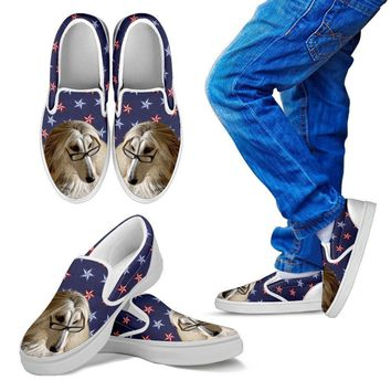 Afghan Hound Dog Print Slip Ons For Kids-Express Shipping