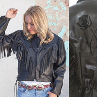 80s XS Black Wilsons Leather Fringe Jacket with Suede Inlaid Roses Distressed Leather Motorcycle Biker Jacket Extra Small Southwestern Boho