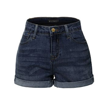 LE3NO Womens Stretchy High Rise Cuffed Denim Shorts with Pockets (CLEARANCE)