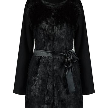 Black Tie Waist Faux Fur Longline Coat
