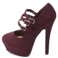 Triple Mary Jane Platform Pumps by Charlotte Russe