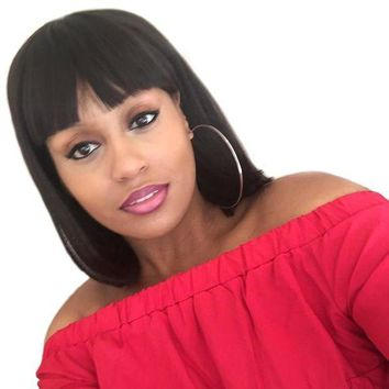 ESBONT Silky Strands Heat Short Resistant Black Wigs For Women With Flat Bangs African American Brown Straight Bob Wig Synthetic Hair