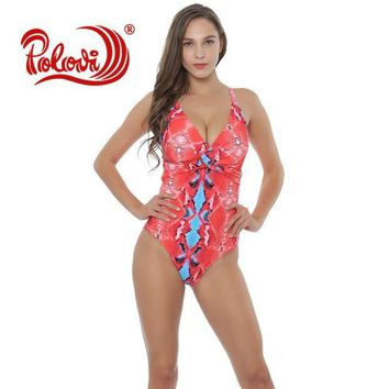LMF57D Polovi Sexy Floral Swim Wear Lady High Cut Bathing Suit Ruffle Plus Size Monokini Thong Swimwear Women One Piece Swimsuit