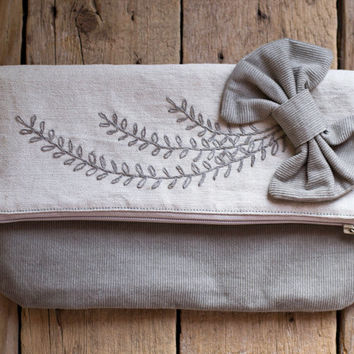 Bohemian Fold-over Clutch, Boho Hand embroidered Clutch, Natural Linen Cotton Foldover Clutch