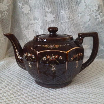 Occupied Japan Red Ware Teapot, Vintage Hand Painted Moriage Tea for Two, 1943 - 52