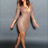 Sexy Faux Leather Plunge V-Neck Quarter Sleeved Mini Dress in Mocha