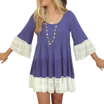 Singwing Women Lace Patchwork Dresses Loose Type O-neck Dress Flare sleeve Above Knee mini Autumn Dresses