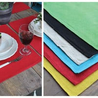 Set of 4 Thick Solid Linen Placemats in 6 colors