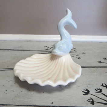 Soap Dish Ceramic Dish Jewelry Dish Trinket Dish Blue Fish and Seashell Soap Dish Nautical Theme Blue and White Whimsical Fish Koi