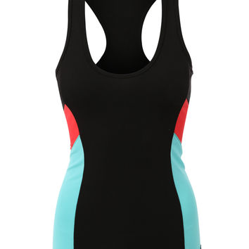 LE3NO Womens Stretchy Racerback Activewear Sports Tank Top