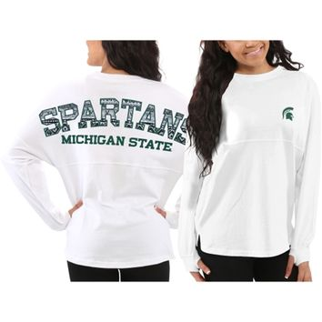 Michigan State Spartans Women's White Aztec Sweeper Long Sleeve Top