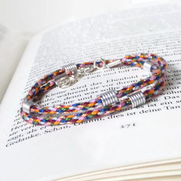 colorful kumihimo wrap bracelet with metal beads from aluminium wire, lenght adjustable unisex adult bracelet, pearl cotton hippie wristlet