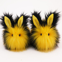 Reserved for Nikki Bumble Black and Yellow Bunny Rabbit Stuffed Animal Plush Toy - 5x8 Inches Medium Size