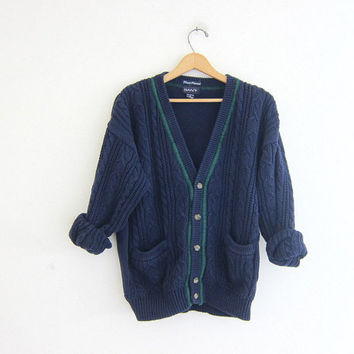 20% OFF SALE vintage cable knit cardigan sweater. navy blue preppy button down pocket sweater. stripe sweater.