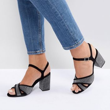 New Look Wide Fit Cross Strap Glitter Low Block Heel Sandal at asos.com