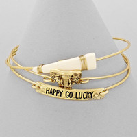 "Elephant ""Happy Go Lucky"" Trunk Bangle Bracelet"