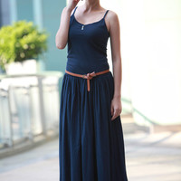 Pleated Maxi Dress in Dark Blue Sexy Montage Long Pleat Vest Sundress Custom made for Women - NC089