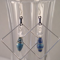 ERBFL03 Earrings made with Blue Paper Beads and Swarovski Crystal Beads