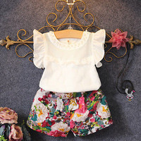 2017 New Fashion Cute Baby Girls Clothes Set Summer Petal Sleeve T Shirt Top and Floral Shorts 2PCS Little Girls Outfit Set-in Clothing Sets from Mother & Kids on Aliexpress.com | Alibaba Group