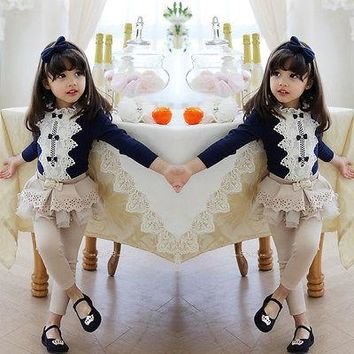 Lovely Baby Kids Girls Clothes Tops Bow Tie Cotton Floral Lace Tops Blouse White Long Sleeve Size 3 4 5 6 7 8 Years