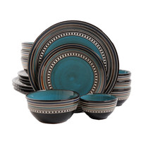Gibson Elite Caf� Versailles 16-piece Double Bowl Blue Dinnerware Set | Overstock.com Shopping - The Best Deals on Casual Dinnerware