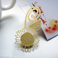 Metal Bookmark Flat/ Korea Stationery Book Bookmarks/ Book Markers Art Gold Flower b06