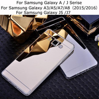 Luxury Mirror Case for Samsung Galaxy A3 A5 A7 J5 J7 Prime On5 on7 2016 Back Cover for S3 S4 S5 S6 S7 Edge Plus Tpu Cases