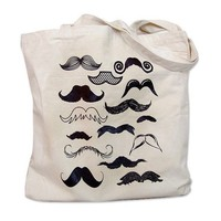 Mustache Tote Bag - Mustache Collection Print on a Natural Canvas Tote Bag