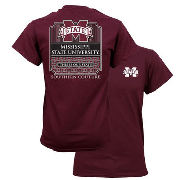 Southern Couture MSU Bulldogs Mississippi State University Preppy Logo Girlie Bright T Shirt