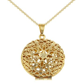 Gold Tone Perforated Round Photo Locket Pendant Family Love Necklace 19""