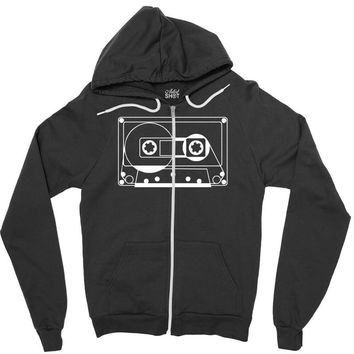 audio cassette 80's 90's party hip hop nostalgia retro Zipper Hoodie
