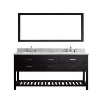Virtu USA Caroline Estate 72 in. Double Vanity in Espresso with Marble Vanity Top in Italian Carrara White and Single Mirror MD-2272-WMRO-ES-010 at The Home Depot - Mobile
