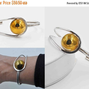 ON SALE Vintage Taxco 925 Sterling Silver Modernist Cuff Bracelet, Signed  Laton, Gold Wash , Mexico, Asymmetrical, 3D, Bangle, Fab! #a758