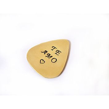 Hand Stamped Te Amo Copper, Silver or Brass Guitar Pick / Gift for Him