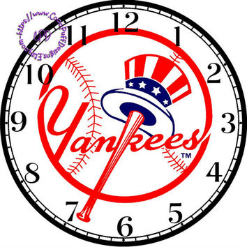 """New York Yankees Sports Team Art - -DIY Digital Collage - 12.5"""" DIA for 12"""" Clock Face Art - Crafts Projects"""