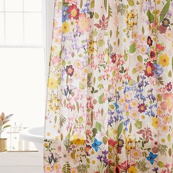 Pressed Flower Shower Curtain | Urban Outfitters