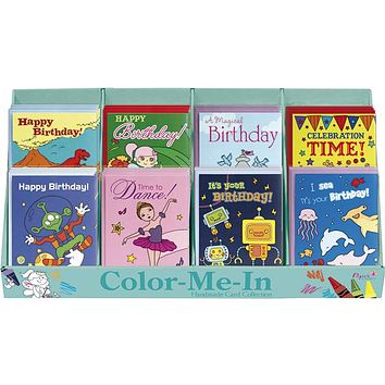 papercraft color me in birthday cards Case of 72