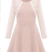Lace Spliced Long Sleeve Skater Dress