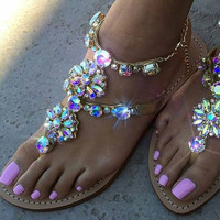 2017 shoes woman sandals women Rhinestones Chains Flat Sandals plus size Thong Flat sandals gladiator sandals chaussure femme